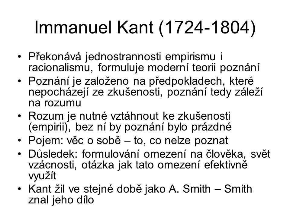 Immanuel Kant (1724-1804) Překonává jednostrannosti empirismu i racionalismu, formuluje moderní teorii poznání.