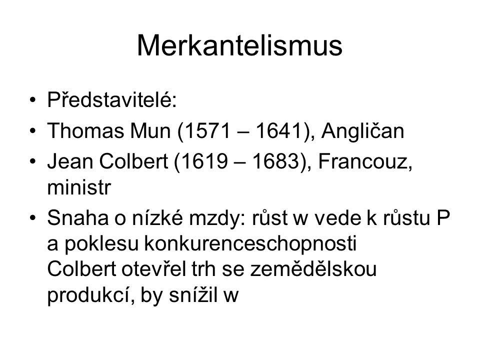 Merkantelismus Představitelé: Thomas Mun (1571 – 1641), Angličan