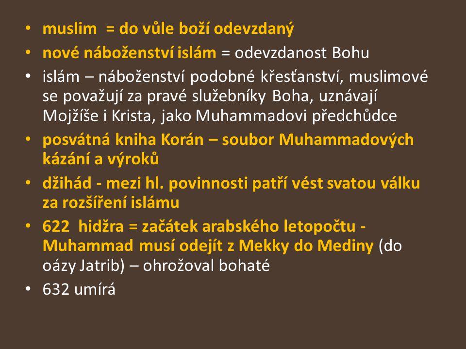 muslim = do vůle boží odevzdaný