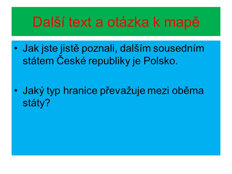 Další text a otázka k mapě