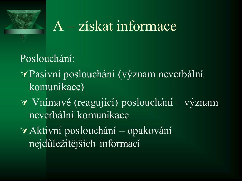 A – získat informace Poslouchání: