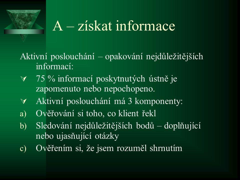 A – získat informace Aktivní poslouchání – opakování nejdůležitějších informací: 75 % informací poskytnutých ústně je zapomenuto nebo nepochopeno.
