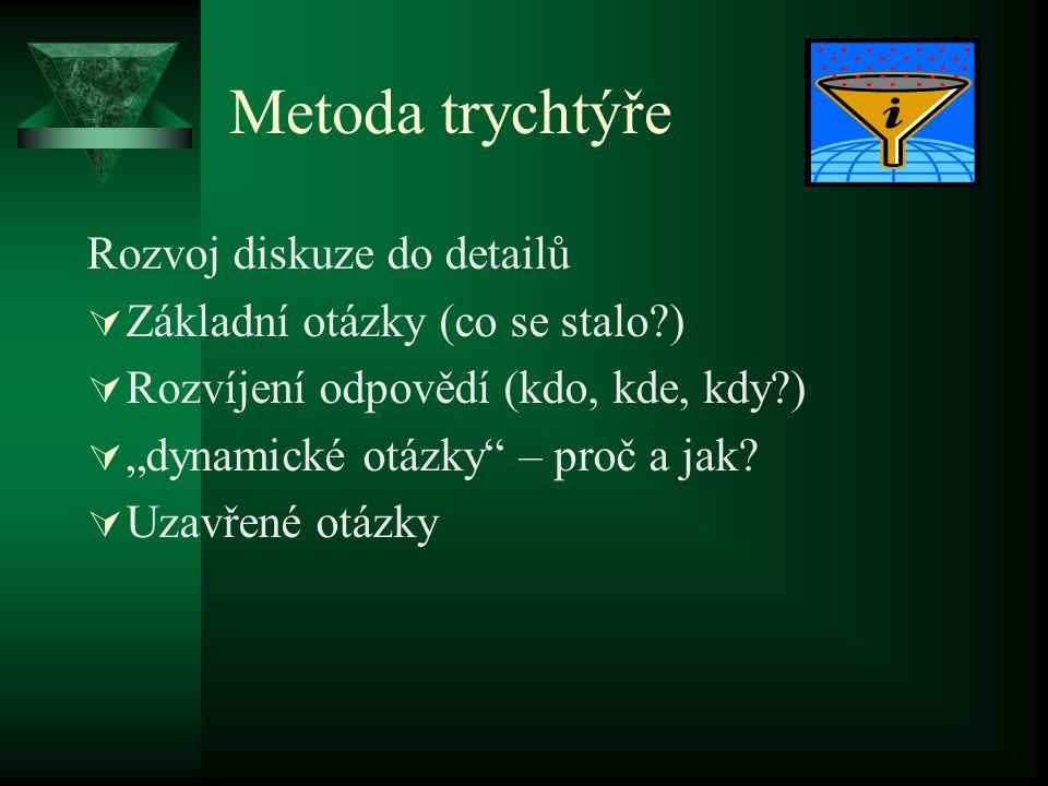 Metoda trychtýře Rozvoj diskuze do detailů