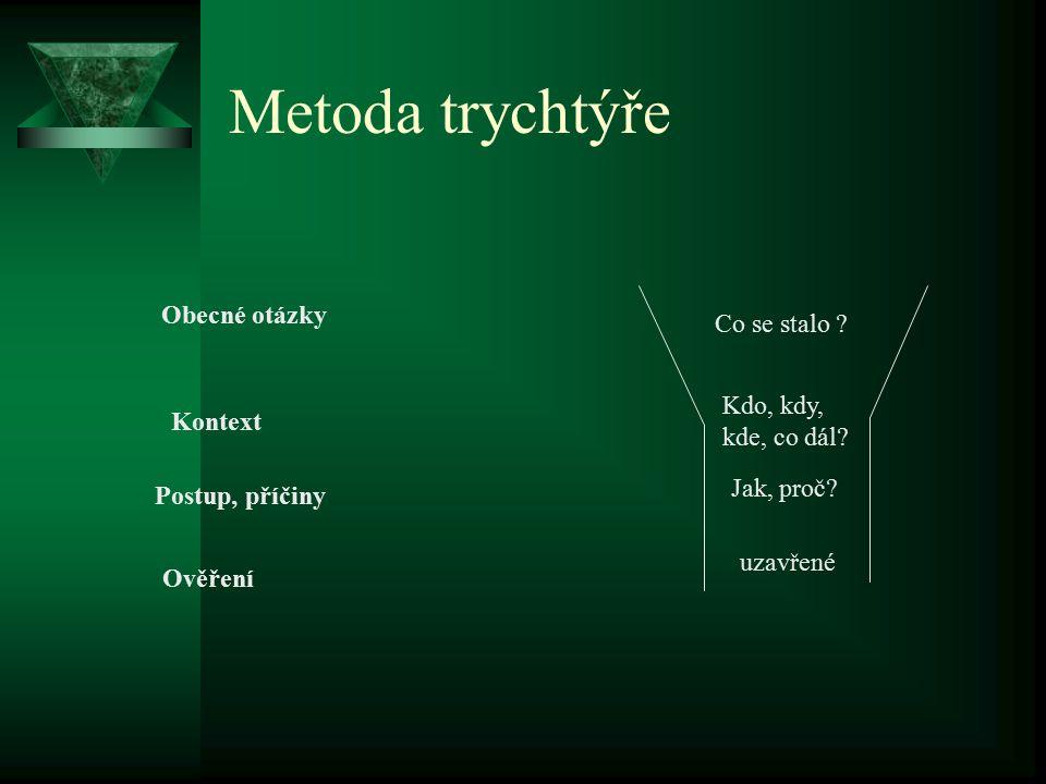 Metoda trychtýře Obecné otázky Co se stalo Kdo, kdy, kde, co dál