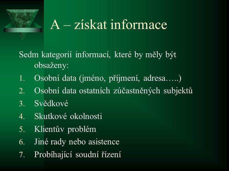 A – získat informace Sedm kategorií informací, které by měly být obsaženy: Osobní data (jméno, příjmení, adresa…..)
