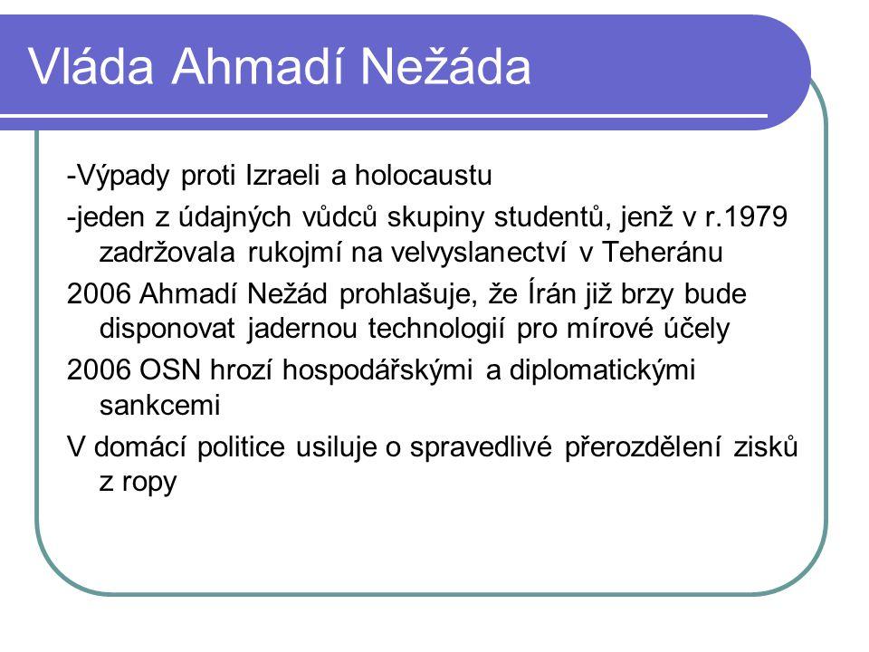 Vláda Ahmadí Nežáda -Výpady proti Izraeli a holocaustu