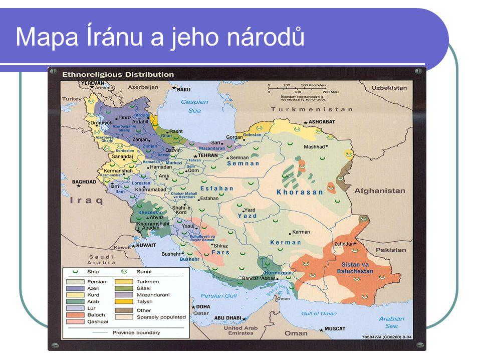 Mapa Íránu a jeho národů