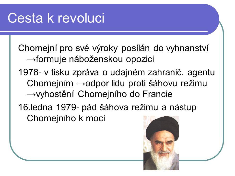 Cesta k revoluci Chomejní pro své výroky posílán do vyhnanství →formuje náboženskou opozici.