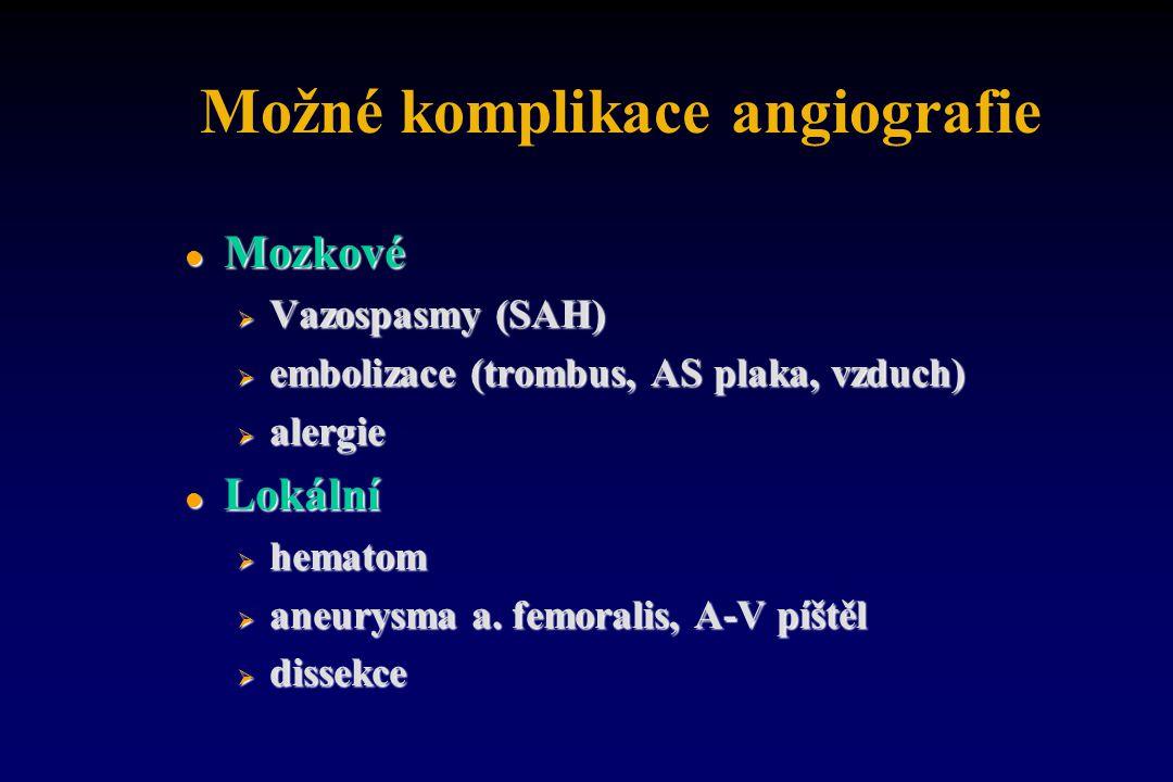 Možné komplikace angiografie