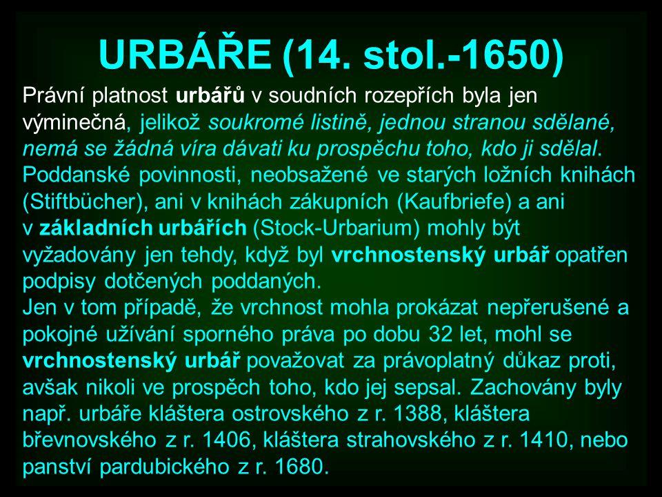 URBÁŘE (14. stol.-1650)