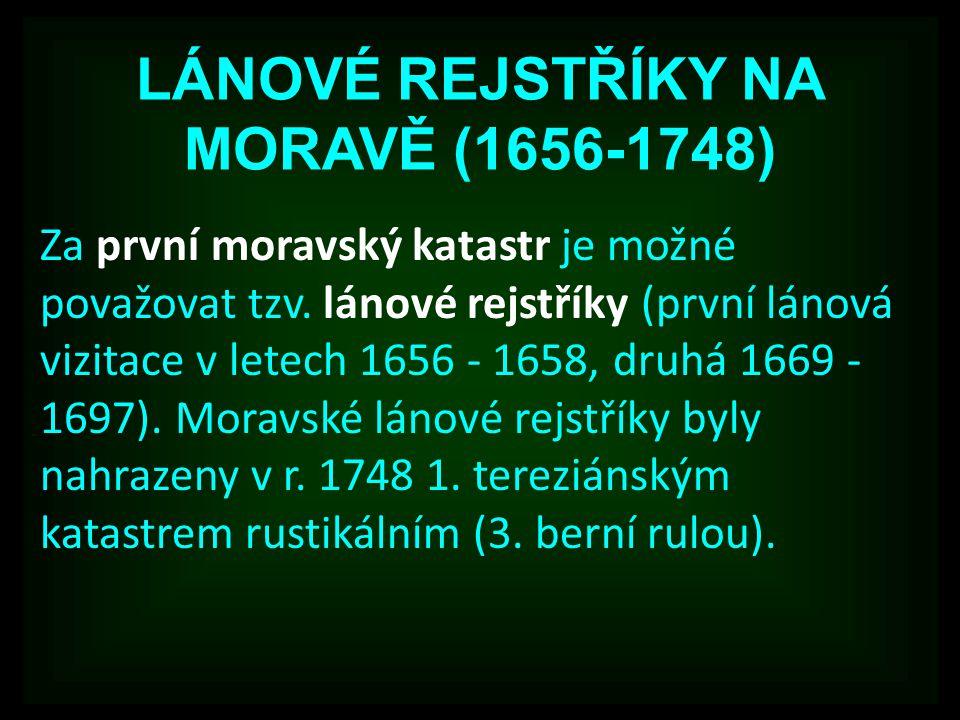 LÁNOVÉ REJSTŘÍKY NA MORAVĚ (1656-1748)