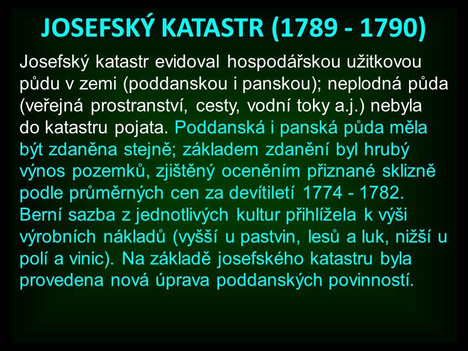 JOSEFSKÝ KATASTR (1789 - 1790)