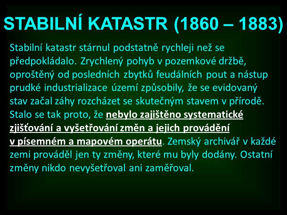 STABILNÍ KATASTR (1860 – 1883)