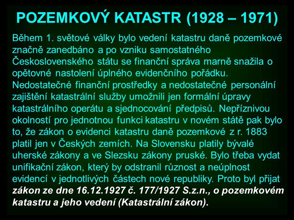 POZEMKOVÝ KATASTR (1928 – 1971)