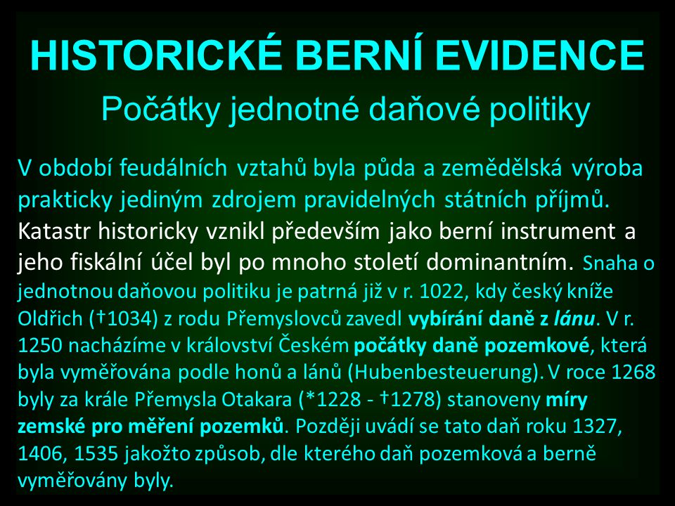 HISTORICKÉ BERNÍ EVIDENCE