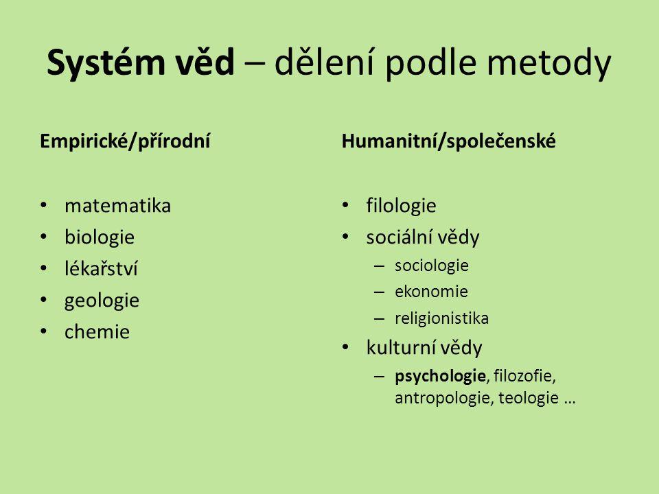 Systém věd – dělení podle metody