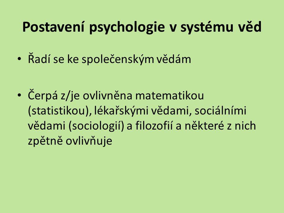Postavení psychologie v systému věd