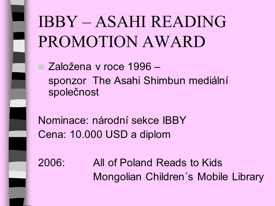 IBBY – ASAHI READING PROMOTION AWARD