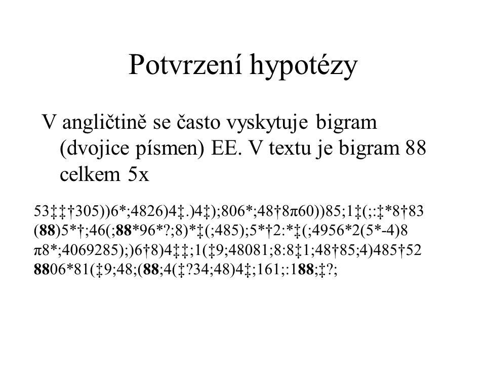 Potvrzení hypotézy V angličtině se často vyskytuje bigram (dvojice písmen) EE. V textu je bigram 88 celkem 5x.