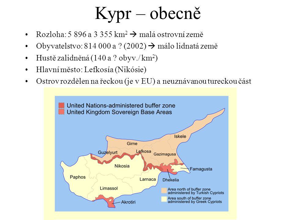 Kypr – obecně Rozloha: 5 896 a 3 355 km2  malá ostrovní země