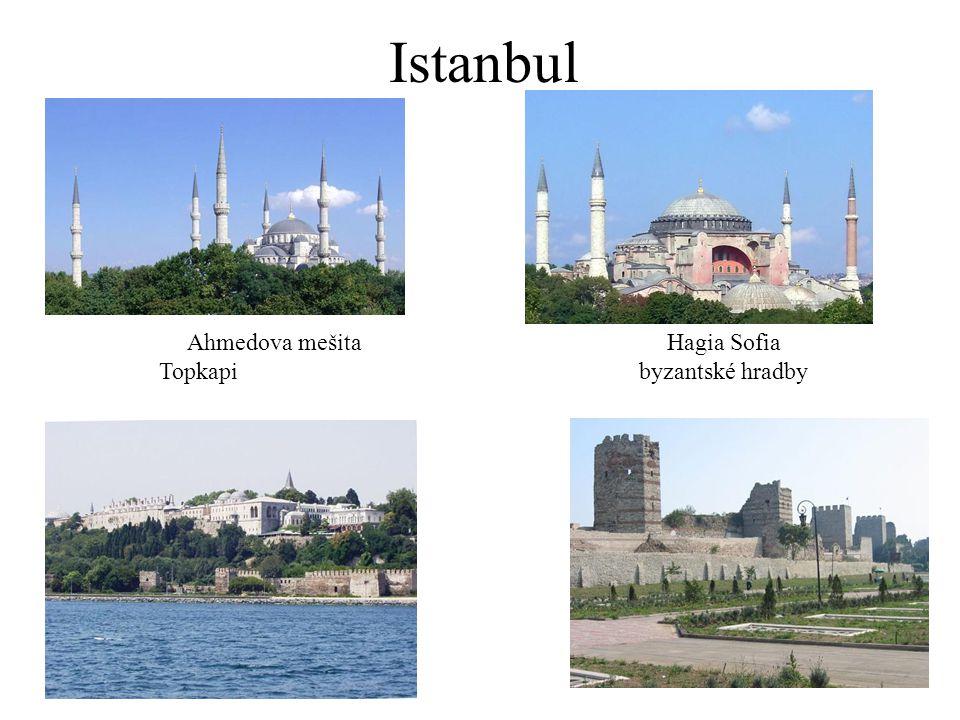 Istanbul Ahmedova mešita Hagia Sofia Topkapi byzantské hradby