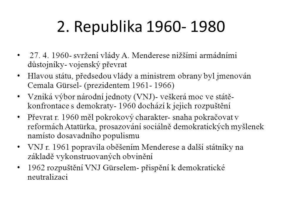 2. Republika 1960- 1980 27. 4. 1960- svržení vlády A. Menderese nižšími armádními důstojníky- vojenský převrat.