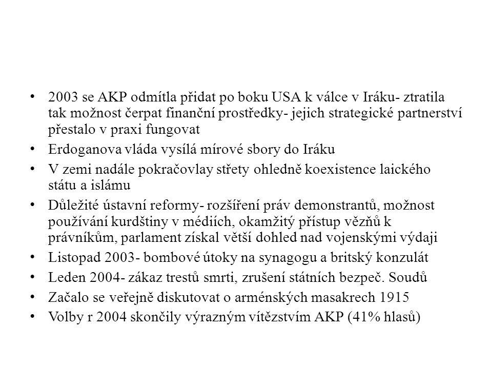 2003 se AKP odmítla přidat po boku USA k válce v Iráku- ztratila tak možnost čerpat finanční prostředky- jejich strategické partnerství přestalo v praxi fungovat