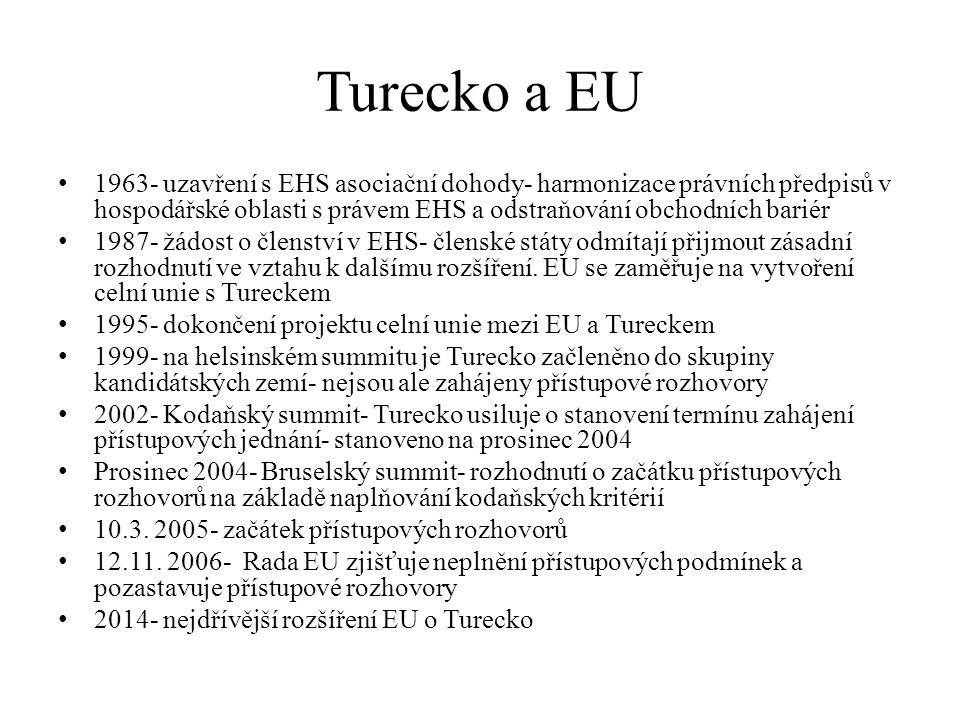 Turecko a EU 1963- uzavření s EHS asociační dohody- harmonizace právních předpisů v hospodářské oblasti s právem EHS a odstraňování obchodních bariér.