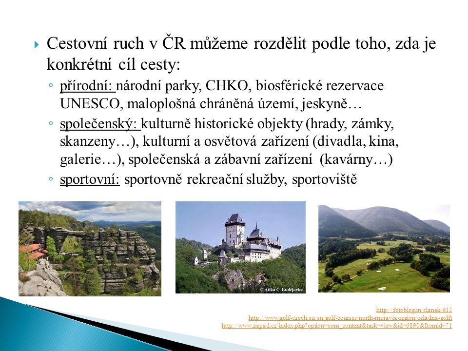 Cestovní ruch v ČR můžeme rozdělit podle toho, zda je konkrétní cíl cesty: