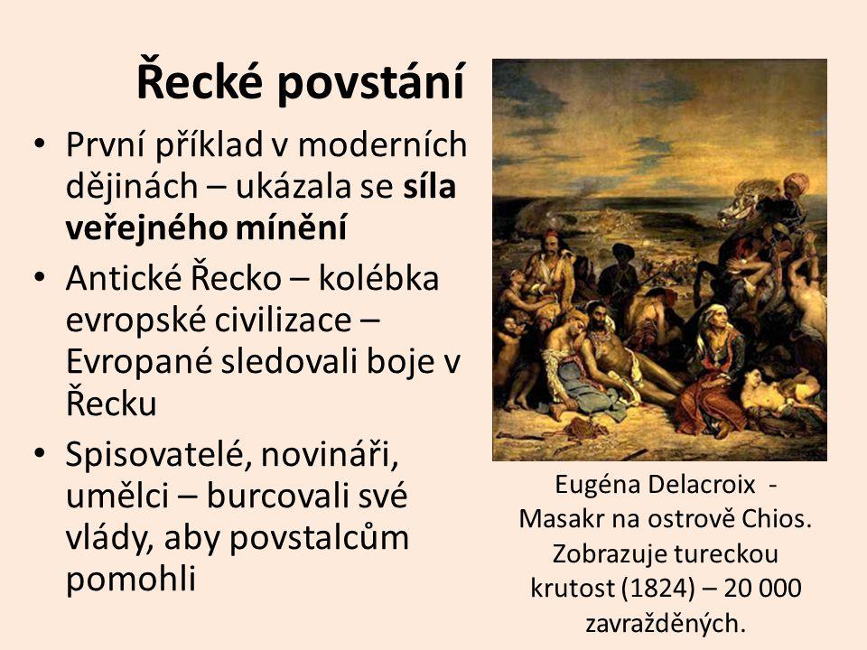 Řecké povstání První příklad v moderních dějinách – ukázala se síla veřejného mínění.