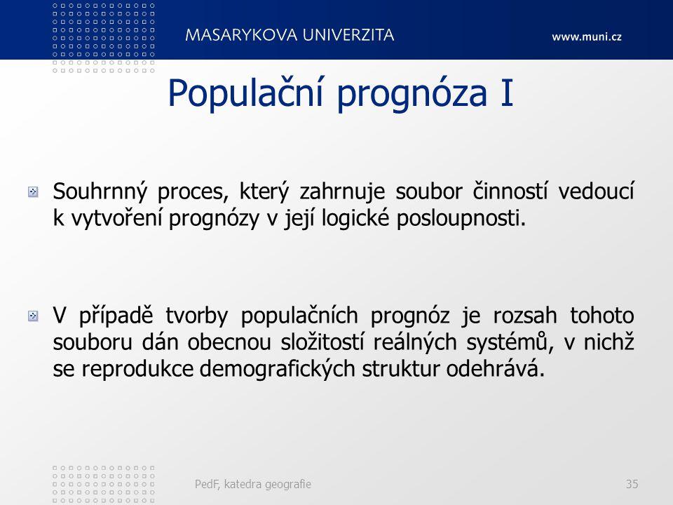 Populační prognóza I Souhrnný proces, který zahrnuje soubor činností vedoucí k vytvoření prognózy v její logické posloupnosti.