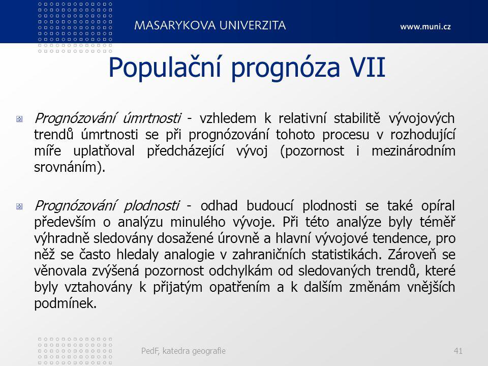 Populační prognóza VII