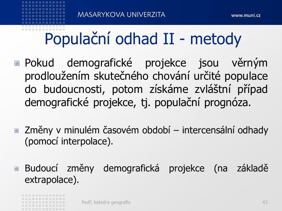 Populační odhad II - metody