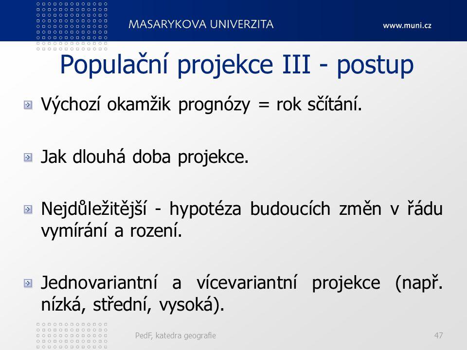 Populační projekce III - postup