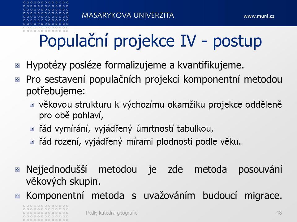 Populační projekce IV - postup
