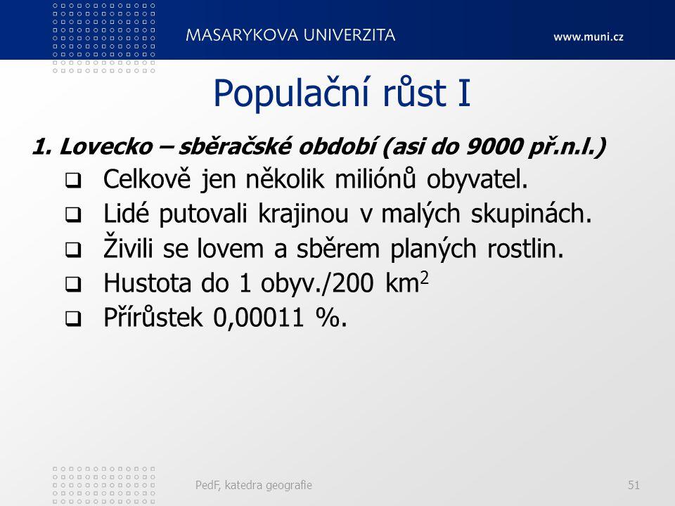 Populační růst I Celkově jen několik miliónů obyvatel.