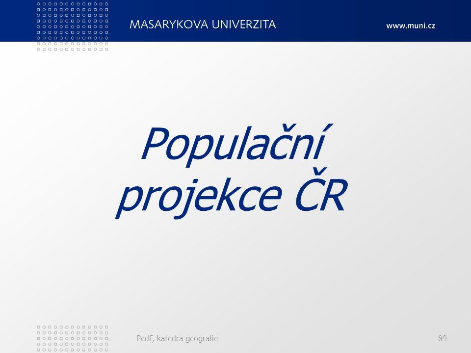 Populační projekce ČR PedF, katedra geografie 89 89