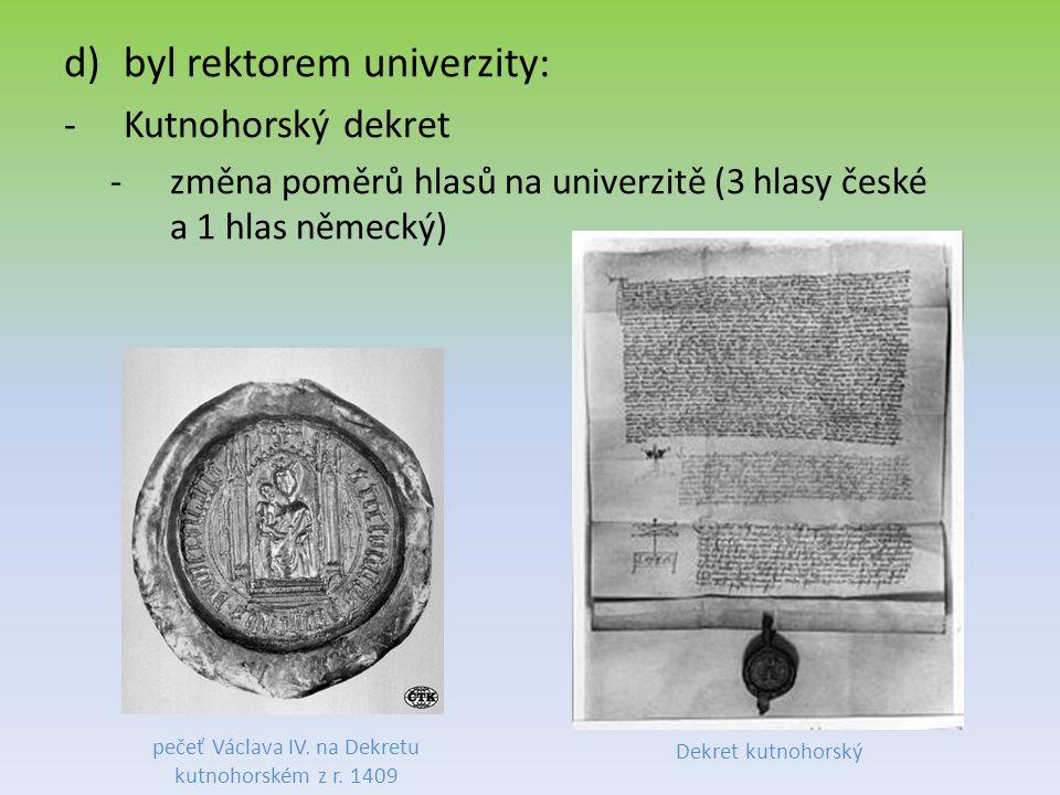 pečeť Václava IV. na Dekretu kutnohorském z r. 1409