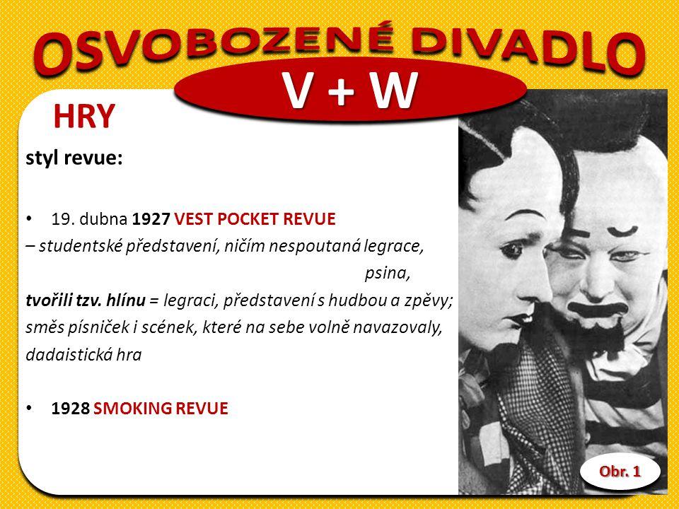 V + W OSVOBOZENÉ DIVADLO HRY styl revue: