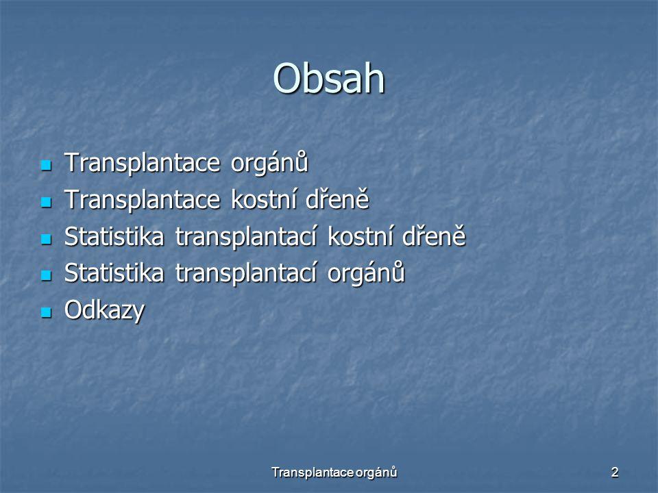 Obsah Transplantace orgánů Transplantace kostní dřeně