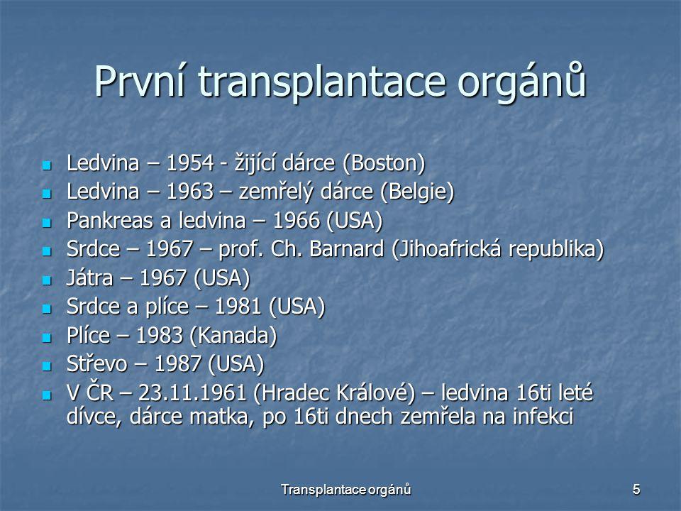 První transplantace orgánů