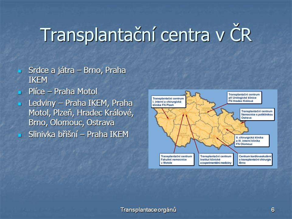 Transplantační centra v ČR