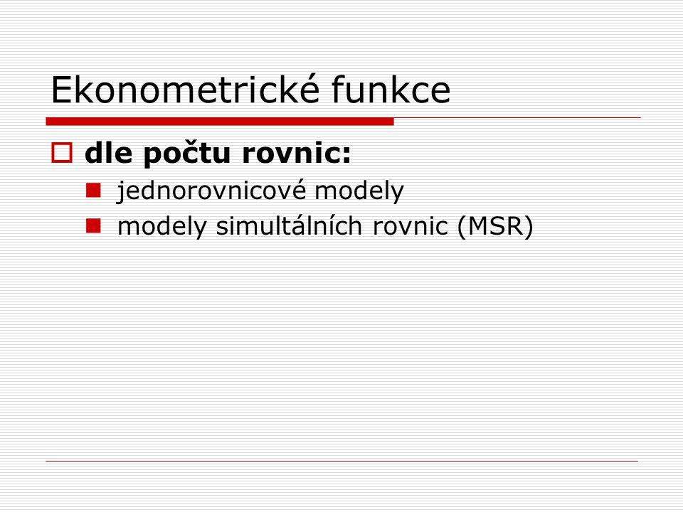 Ekonometrické funkce dle počtu rovnic: jednorovnicové modely