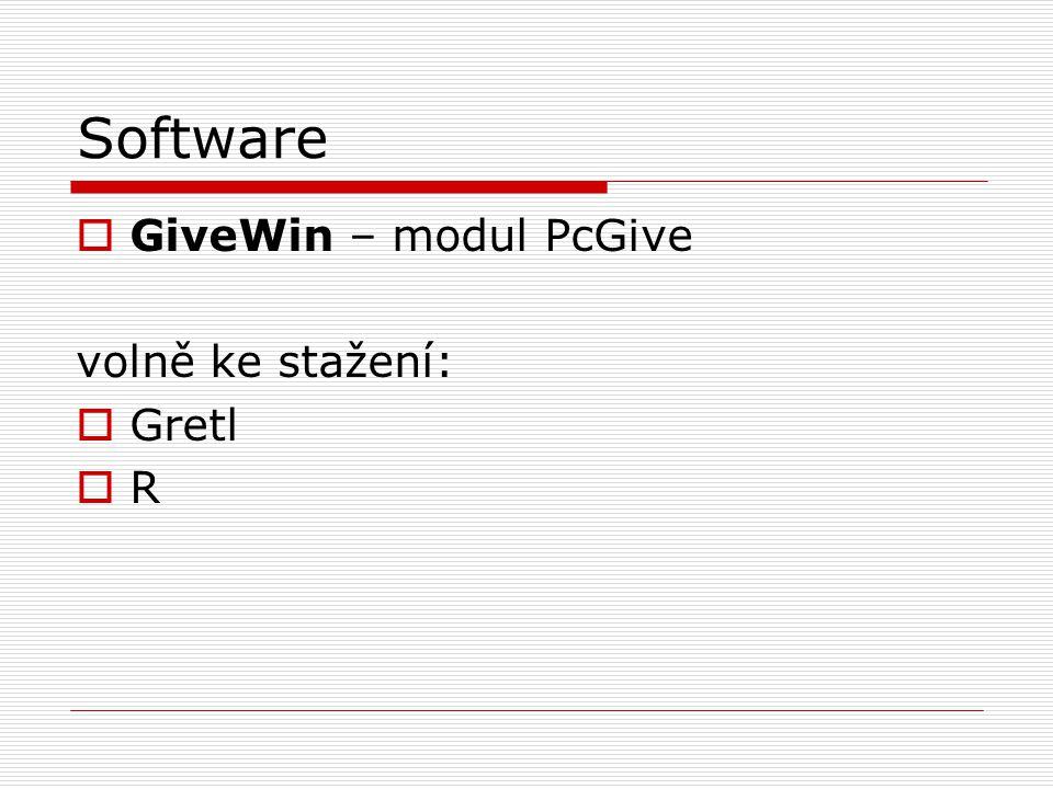 Software GiveWin – modul PcGive volně ke stažení: Gretl R