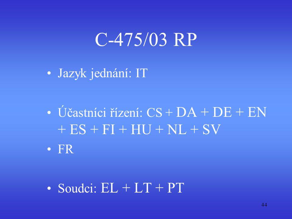 C-475/03 RP Jazyk jednání: IT
