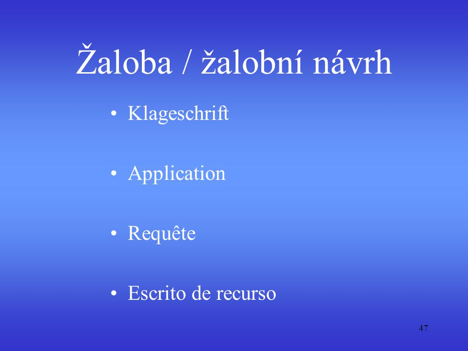 Žaloba / žalobní návrh Klageschrift Application Requête