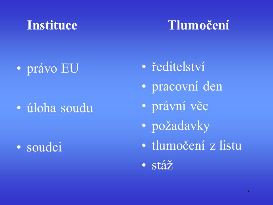 Tlumočení ředitelství právo EU pracovní den právní věc úloha soudu
