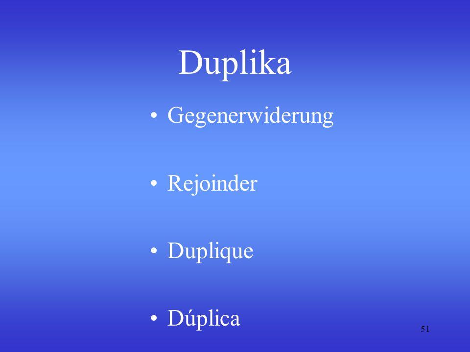 Duplika Gegenerwiderung Rejoinder Duplique Dúplica