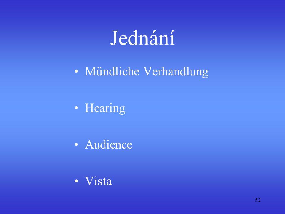 Jednání Mündliche Verhandlung Hearing Audience Vista