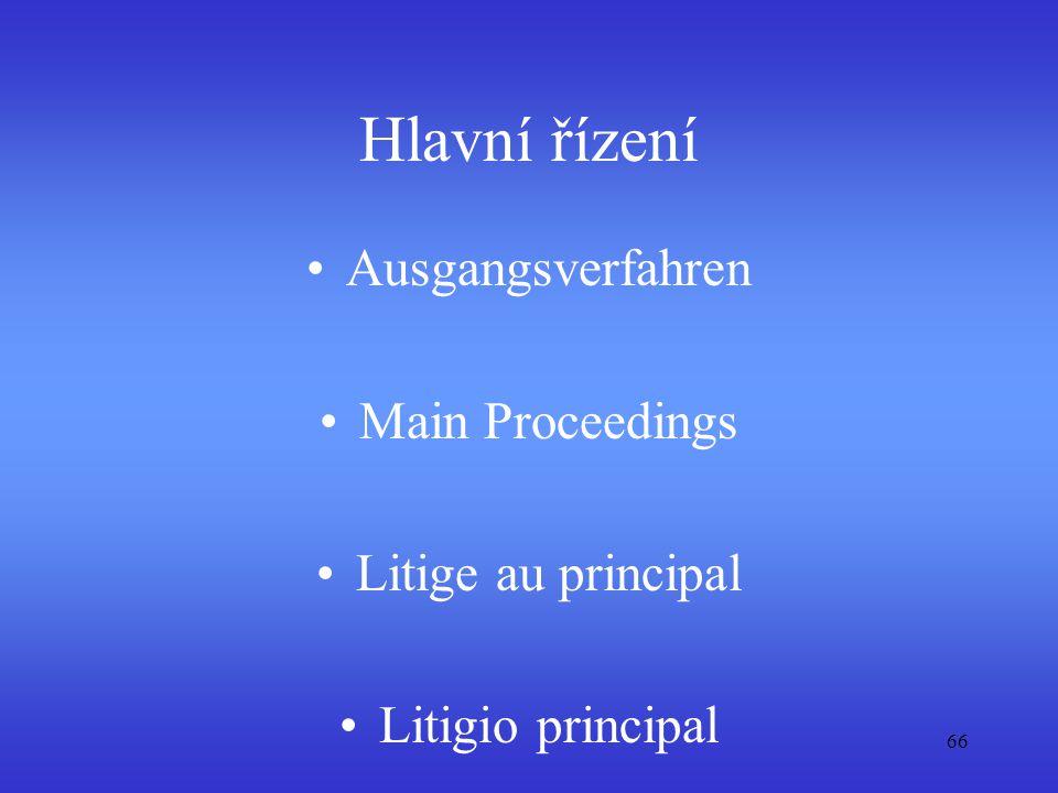 Hlavní řízení Ausgangsverfahren Main Proceedings Litige au principal